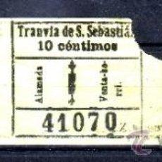 Coleccionismo Billetes de transporte: TRES BILLETES CORRELATIVOS DEL TRANVIA DE SAN SEBASTIAN. Lote 37887042