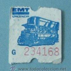 Coleccionismo Billetes de transporte: BILLETE EMT VALENCIA. G 234168. Lote 38245434