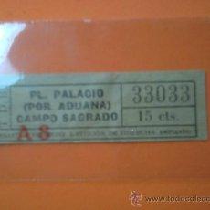 Coleccionismo Billetes de transporte: BILLETE TRANVIAS DE BARCELONA- CAPICUA Nº 33033 - PL.PALACIO(POR ADUANA)/CAMPO SAGRADO - 15 CENTIMOS. Lote 38465621