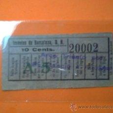 Coleccionismo Billetes de transporte: BILLETE TRANVIAS DE BARCELONA- CAPICUA Nº 20002 -C.ARAGÓN/C.URGEL- 10 CENTIMOS. Lote 38465639