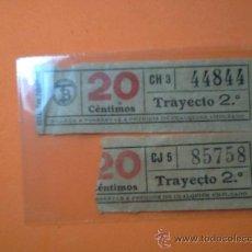 Coleccionismo Billetes de transporte: BILLETES TRANVIAS DE BARCELONA- CAPICUAS Nº 44844 Y 85758 -TRAYECTO 2º- 20 CENTIMOS. Lote 38465744