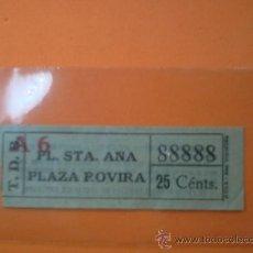 Coleccionismo Billetes de transporte: BILLETE TRANVIAS DE BARCELONA - CAPICUA Nº 88888-PL. STA. ANA / PLAZA ROVIRA -25 CTMOS.. Lote 38465895