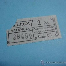 Coleccionismo Billetes de transporte: ANTIGUO BILLETE DE TRANVIA O BUS, SALTUV VALENCIA, 2PTS. 25 DICIEMBRE DE 1964. SERIE CC. BILLETE. Lote 39130956