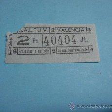 Coleccionismo Billetes de transporte: ANTIGUO BILLETE DE TRANVIA O BUS, SALTUV VALENCIA, 2PTS. SERIE JL. BILLETE DE TRANSPORTE. Lote 39130960