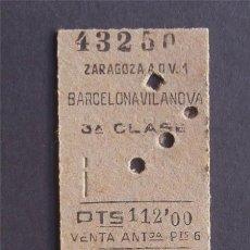 Coleccionismo Billetes de transporte: FERROCARRIL ZARAGOZA - BARCELONA / BILLETE 3ª CLASE / AÑO 1959. Lote 39191193
