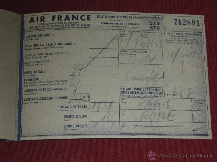 Billete avion air france a o 1955 paris r comprar for Billetes de avion baratos barcelona paris