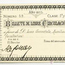 Coleccionismo Billetes de transporte: BILLETE DE LIBRE CIRCULACIÓN DE TRANVÍA A VAPOR PONTEVEDRA A MARIN. 1892. Lote 39893627