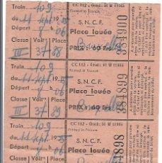 Coleccionismo Billetes de transporte: BILLETE TREN SNCF-WAGONS LITS-PARIS. Lote 39950959