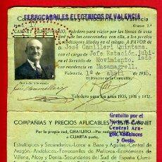 Coleccionismo Billetes de transporte: CARNET FERROVIARIO, TREN FERROCARRIL, FERROCARRILES ELECTRICOS VALENCIA 1935, ORIGINAL. Lote 39987226