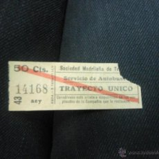 Coleccionismo Billetes de transporte: MADRID BILLETE DE TRANVIA AUTOBUS. Lote 40136477