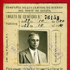 Coleccionismo Billetes de transporte: CARNET, FERROCARRILES COMPAÑIA CAMINOS DE HIERRO NORTE ESPAÑA , 1940 , ORIGINAL. Lote 40323622