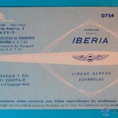 Coleccionismo Billetes de transporte: BILLETE DE IBERIA AÑO 1958 VUELO DE BARCELONA A MADRID. Lote 40573908