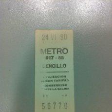 Coleccionismo Billetes de transporte: ANTIGUO BILLETE DE METRO. SENCILLO 24-6-1980. Lote 40688508