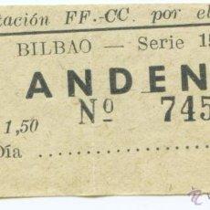 Coleccionismo Billetes de transporte: BILLETE DE PAPEL DE ANDEN ESTACION DE BILBAO. Lote 40882408