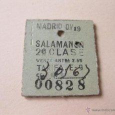 Coleccionismo Billetes de transporte: BILLETE DE TREN ANTIGUO PARA SALAMANCA - 2ª CLASE. Lote 40962712