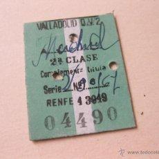 Coleccionismo Billetes de transporte: BILLETE DE TREN ANTIGUO PARA VALLADOLID - 2ª CLASE. Lote 40962919