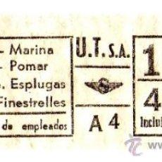Coleccionismo Billetes de transporte: BILLETE URBANIZACIONES Y TRANSPORTES (URBAS) \ VARIOS TRAYECTOS \ 4 PTAS \ CAPICUA. Lote 41144382