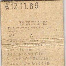 Coleccionismo Billetes de transporte: BILLETE TRANSPORTE RENFE BARCELONA - PUEBLO NUEVO. Lote 41268428