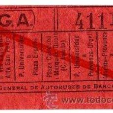 Coleccionismo Billetes de transporte: BILLETE COMPAÑÍA GENERAL DE AUTOBUSES (CGA) \ VARIOS TRAYECTOS \ 10 CTS \ CAPICUA. Lote 41353099