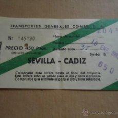Coleccionismo Billetes de transporte: ANTIGUO BILLETE TRANSPORTE GENERALES COMES S.A SEVILLA CADIZ 1983 . Lote 41515690