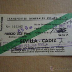 Coleccionismo Billetes de transporte: ANTIGUO BILLETE TRANSPORTE GENERALES COMES S.A SEVILLA CADIZ 1983 . Lote 41515695