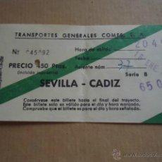 Coleccionismo Billetes de transporte: ANTIGUO BILLETE TRANSPORTE GENERALES COMES S.A SEVILLA CADIZ 1983 . Lote 41515700