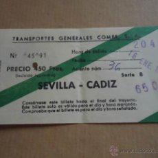 Coleccionismo Billetes de transporte: ANTIGUO BILLETE TRANSPORTE GENERALES COMES S.A SEVILLA CADIZ 1983 . Lote 41515706