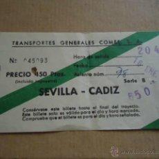 Coleccionismo Billetes de transporte: ANTIGUO BILLETE TRANSPORTE GENERALES COMES S.A SEVILLA CADIZ 1983 . Lote 41515711