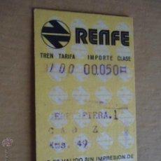 Coleccionismo Billetes de transporte: ANTIGUO BILLETE TRANSPORTE TREN RENFE 1974 JEREZ DE LA FRONTERA CADIZ KM 49. Lote 41515746