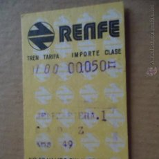 Coleccionismo Billetes de transporte: ANTIGUO BILLETE TRANSPORTE TREN RENFE AÑOS 1974 JEREZ CADIZ 49 KM. Lote 41515813
