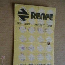 Coleccionismo Billetes de transporte: ANTIGUO BILLETE TRANSPORTE TREN RENFE AÑOS 1974 CADIZ JEREZ 49 KM. Lote 41515821
