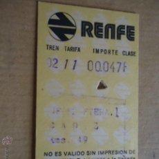 Coleccionismo Billetes de transporte: ANTIGUO BILLETE TRANSPORTE TREN RENFE AÑOS 1975 JEREZ CADIZ 49 KM. Lote 41515829