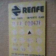 Coleccionismo Billetes de transporte: ANTIGUO BILLETE TRANSPORTE TREN RENFE AÑOS 1975 JEREZ CADIZ 49 KM. Lote 41515834