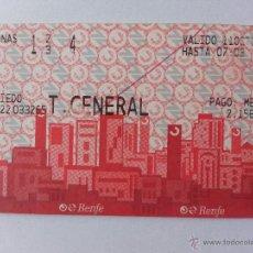 Coleccionismo Billetes de transporte: BILLETE DE TRANSPORTE RENFE OVIEDO 2004. Lote 41597534