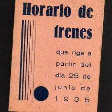 Collectionnisme Billets de transport: HORARIO DE TRENES - A PARTIR 25 JUNIO 1935 - LÉRIDA - LINEAS DE BARCELONA, TARRAGONA Y ZARAGOZA. Lote 42024400