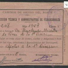 Coleccionismo Billetes de transporte: FERROCARRILES - CAMINOS DE HIERRO DEL NORTE - PASE AÑO 1929 - (V- 531). Lote 42056978