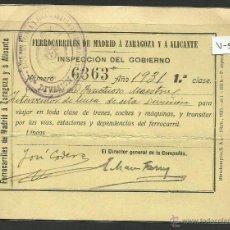 Coleccionismo Billetes de transporte: FERROCARRILES DE MADRID A ZARAGOZA Y A ALICANTE - AÑO 1931 - (V-534). Lote 42057901