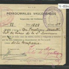 Coleccionismo Billetes de transporte: FERROCARRILES VASCONGADOS - PASE AÑO 1929 - (V- 536). Lote 42058127