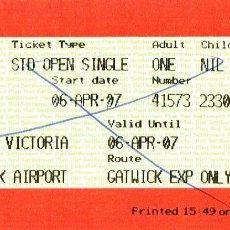 Coleccionismo Billetes de transporte: BILLETE DE TREN GATWICK EXPRESS DE LONDRES AL AEROPUERTO (INGLATERRA). Lote 42547026