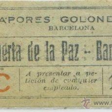Coleccionismo Billetes de transporte: BILLETE DE VAPORES GOLONDRINAS DEL PUERTO DE BARCELONA . Lote 42573039