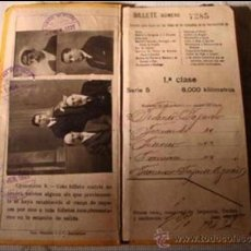 Coleccionismo Billetes de transporte: BILLETE KILOMÉTRICO TARIFA 109, DE 1ª CLASE, SERIE 5, 8.000 KMS, DEL AÑO 1921, EN. Lote 33584170