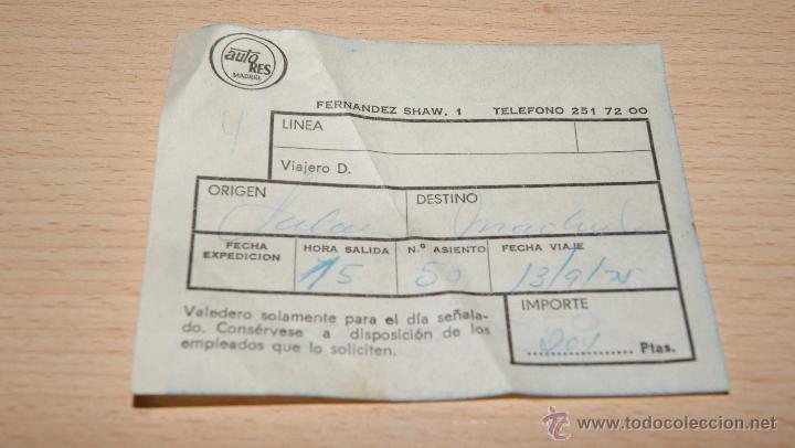 Coleccionismo Billetes de transporte: Billete de Autobús Auto Res de 1975 - Foto 2 - 43440786