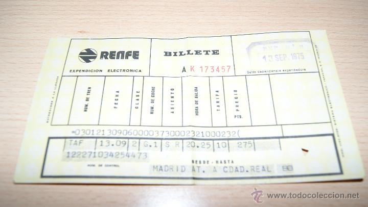 Coleccionismo Billetes de transporte: Billete de Renfe de 1975 Madrid - Foto 3 - 43441023
