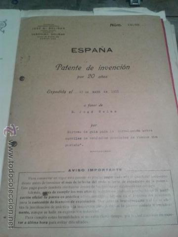 Coleccionismo Billetes de transporte: PATENTE OFICIAL AÑOS 30 TEMATICA FERROCARRILES TRENES INGENIERO D. JOSÉ CELMA BEL - Foto 3 - 43761126