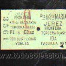 Coleccionismo Billetes de transporte: BILLETE DE TREN. JEREZ DE LA FRONTERA - PUERTO SANTA MARIA. 3º CLASE. IDA Y VUELTA. Lote 43762457
