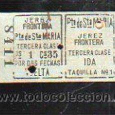 Coleccionismo Billetes de transporte: BILLETE DE TREN. JEREZ DE LA FRONTERA - PUERTO DE SANTA MARIA. 3º CLASE. IDA Y VUELTA. Lote 43762927