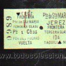 Coleccionismo Billetes de transporte: BILLETE DE TREN. JEREZ DE LA FRONTERA - PUERTO DE SANTA MARIA. 3º CLASE. IDA Y VUELTA. Lote 43762942