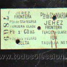 Coleccionismo Billetes de transporte: BILLETE DE TREN. JEREZ DE LA FRONTERA - PUERTO DE SANTA MARIA. 3º CLASE. IDA Y VUELTA. Lote 43762953