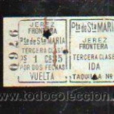 Coleccionismo Billetes de transporte: BILLETE DE TREN. JEREZ DE LA FRONTERA - PUERTO DE SANTA MARIA. 3º CLASE. IDA Y VUELTA. Lote 43763088