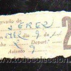 Coleccionismo Billetes de transporte: BILLETE DE TREN. RESERVADO A JEREZ. 2º CLASE.. Lote 43763150